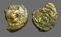 Ancient Coins - Herod Archelaus AE prutah.  Wreath, EO at center / Prow if galley left.