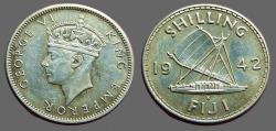 World Coins - British Administration. Fiji. George VI. AR Shilling 1942