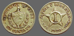 World Coins - Cuba AR 1 Cent  Coat of Arms / 5 point star.  1920  Silver