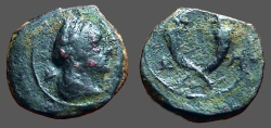 Ancient Coins - Aretas IV AE unit. Crossed Cornucopias.  Petra.   Monogram of Aretas IV in field.