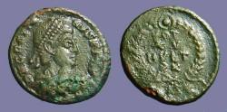 Ancient Coins - Gratian AE4 Vows in wreath.  VOT/XX/MVLT/XXX