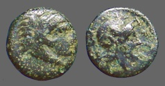 Ancient Coins - Pergamon AE10 Herakles right, clad in lion's skin. Bust of Athena right, in crested helmet.