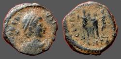 Ancient Coins - Honorius AE3 (13mm).  Honorius, Theodosius I, Arcadius, stg. together.  Antioch