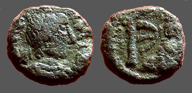 Ancient Coins - Justin I AE Pentanummium, Tyche of Antioch in shrine, Antioch.
