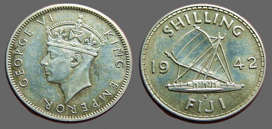 World Coins - British Administration. Fiji. George VI. AR Shilling 1942