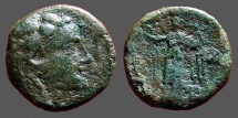 Ancient Coins - Thrace, Lysimacheia. AE17 Head of Herakles in lion-skin / Nike standing.