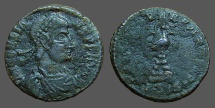 Ancient Coins - Constans AE 18 Centionalis.  Phoenix on funeral pyre.  348 AD.