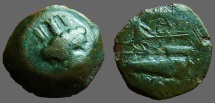 Ancient Coins - Phoenicia, Arados AE17 Turreted Tyche / Galley w. Athena