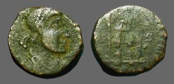 Ancient Coins - Gratian(?) AE4 Emperor stg. holds labarum, rests on shield