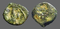 Ancient Coins - Aretas IV AE10 Eagle, wings closed, stands rt./ Nabataean letter in wreath.