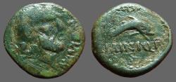 Ancient Coins - Carteia AE18 Male hd rt / Dolphin