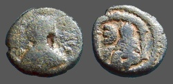 Ancient Coins - Justin I & Justinian I AE11 Pentanummium Tyche of Antioch in temple.