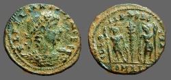 Ancient Coins - Delmatius AE3 GLORIA EXERCITVS  2 soldiers, 1 Standard.