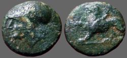 Ancient Coins - Akarnania, Leukas AE15 Athena / Chimaera at bay