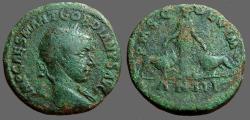 Ancient Coins - Gordian III AE30 Sestertius Moesia w. bull & lion.  year 7  Viminacium