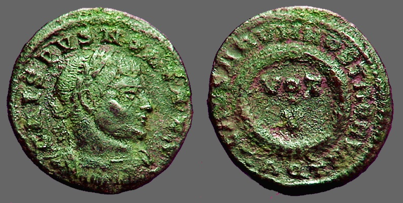 Ancient Coins - Crispus as Caesar AE3 Vows in wreath.  VOT / V  Aquila