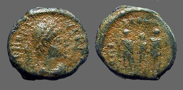 Ancient Coins - Arcadius AE3 Honorius, Theodosius & Arcadius hold globe, Antioch Turkey