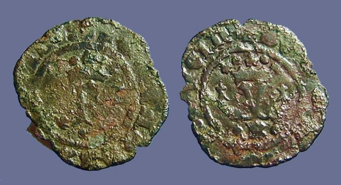 Ancient Coins - Fernando V & Isabella, 19mm billon Blanca. 1474-1504 AD.
