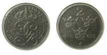 World Coins - Sweden 2 Ore 1917 Iron WW I Issue KM# 790