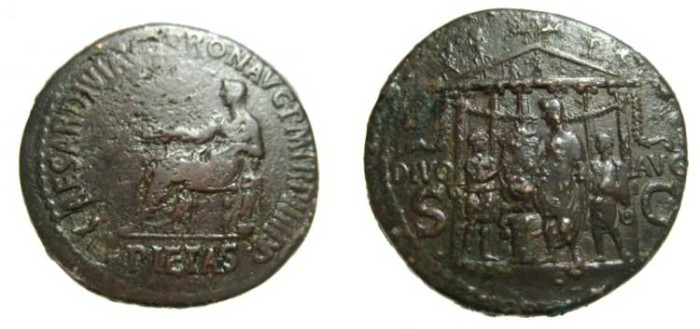 Ancient Coins - Caligula Æ Sestertius. Struck 37/8 AD.