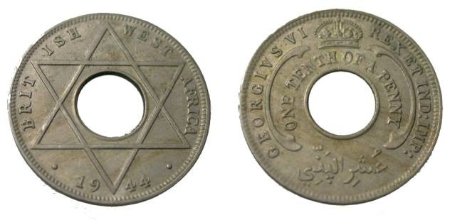 World Coins - 1944  Nigeria George VI One Tenth Penny Y-22