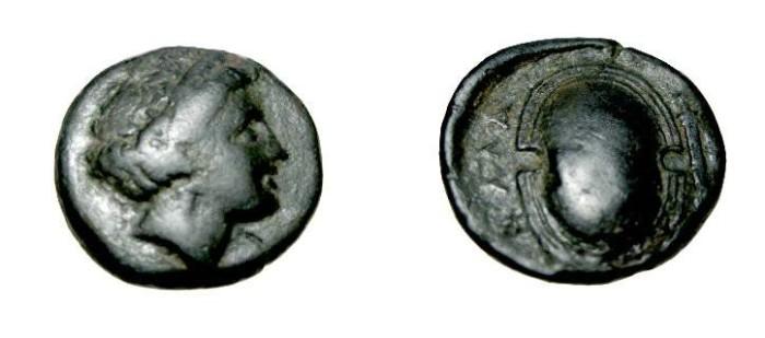 Ancient Coins - Attica Salamis 350-318 BC AE15 Head of Nymph rev shield S-2578