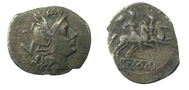 Ancient Coins - Roman Republic Ca. 211-208BC Anonymous AR Quniarius