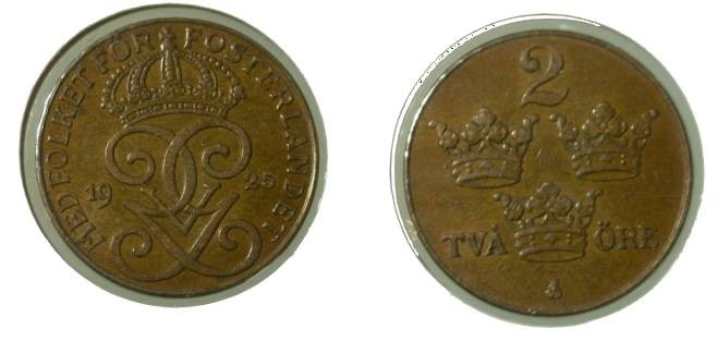 World Coins - Sweden 2 Ore 1925 KM#778 unc