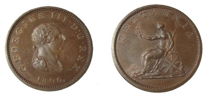 World Coins - Great Britain George III 1760-1820 1/2 Penny 1806 KM-662a PROOF