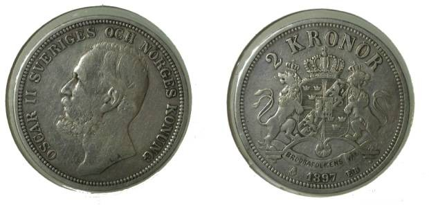 World Coins - Sweden 2 Kroner 1897