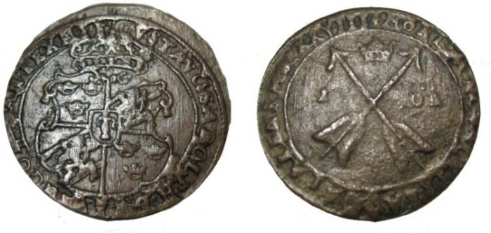 World Coins - Sweden Gustav II Adolf 1611-1632  1 Ore 1628 KM# 115 SM 134a