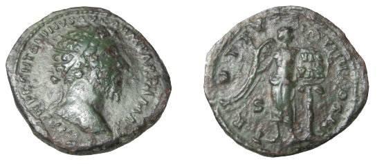 Ancient Coins - Marcus Aurelius 139-180AD AE Dupondius TR POTXX IMP IIII COS III RIC 932