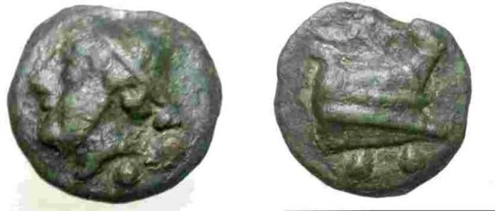 Ancient Coins - Anonymous. Circa 240-225 BC. Æ Aes Grave Sextans.