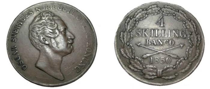 World Coins - Sweden Oscar I 1844-1859 4 Skilling 1850 KM# 672