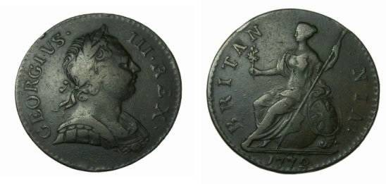 World Coins - Great Britain 1772 1/2 Penny George III