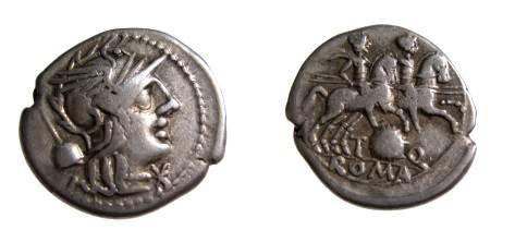 Ancient Coins - Roman Republic, Quinctia 2,T Quinctius Flaminius , 126  BC