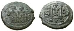 Ancient Coins - Justin II 565-578 AD AE Follis kyzrcus