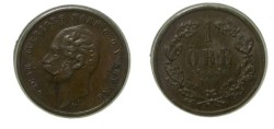 World Coins - Sweden 1 Ore 1858 LA   KM #687