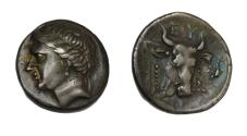 Ancient Coins - Greek coins. Euboeia, Eretria. Drachm ca. 304-290, AR 3.78g. Head of nymph l. Rev. Forepart of bull r. Wallace 59. . Old cabinet tone and about extremely