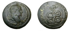Ancient Coins - Caracalla 196-217 AD AE30 Pautalia Coiled snake