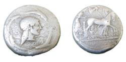 Ancient Coins - Sicily Syracuse AR tetradrachm- 16.29 gram, minted ca 485-478BC obv: slow chariot driven by charioteer, with Nike flying above, crowning the horses rev