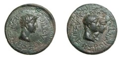 Ancient Coins - Rhoemetacles AE25 Rhoemetalces & Phythodoris Thrace 11BC - 12 AD Augustus R