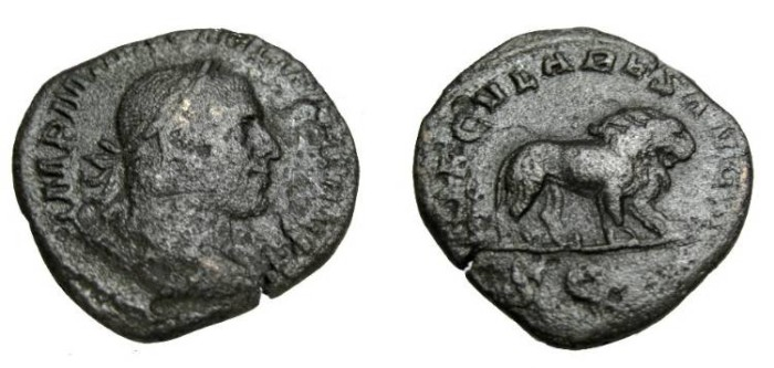 Ancient Coins - Phillip II 244-249 AD AE Sestertius saeculares Avgg RIC 158