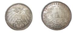 World Coins - German Empire 1908 E  1 Mark KM 14