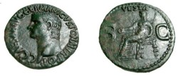 Ancient Coins - Caligula Vesta RIC 38 AE As 37-8AD