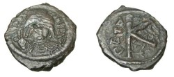 Ancient Coins - Maurice Tiberius 582-610-AD AE 1/2 Follis S-509