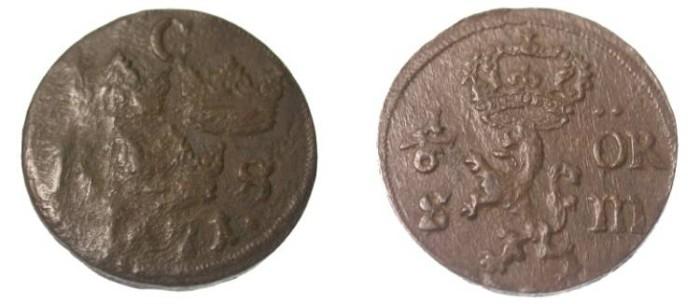 World Coins - Sweden   1/6 Ore 1671  Karl XI  KM 254