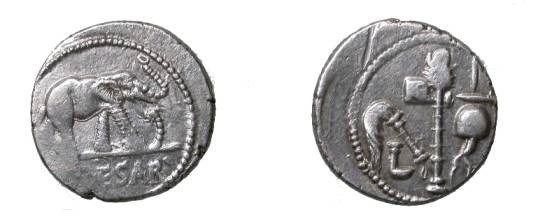 Ancient Coins - Julius Ceasar 49-44 BC AR Denarius 3.95gm CR 443/1 S 1399