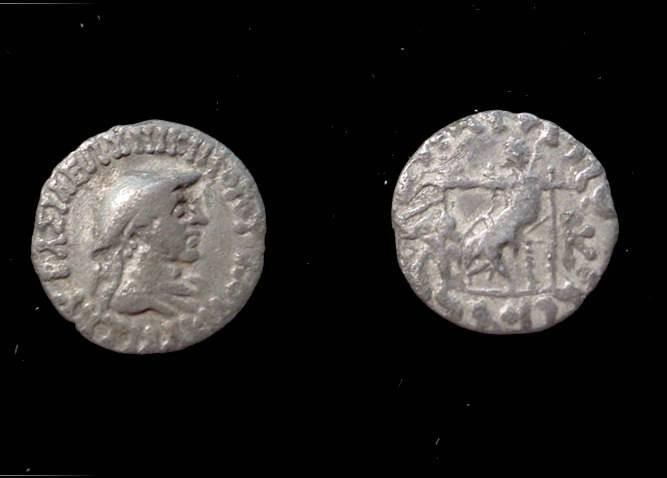 Ancient Coins - Bactrian Antialkas Ca. 145 - 135C AR Drachm