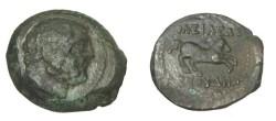 Ancient Coins - Bactria Euthydemos Ca 230-190 BC AE Di-chalkon S# 7523 R!